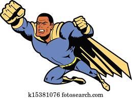 schwarz, fliegen, superhero, mit, geballte faust