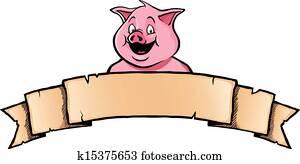 schwein, mit, bandbanner