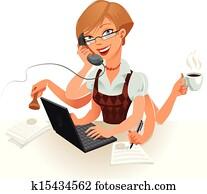 Secretary, vector illustration
