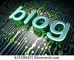 SEO web development concept: Blog on circuit board background