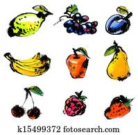 Set of fruits. Hand painted illustration