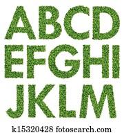 Set of Green Grass Alphabet A-M