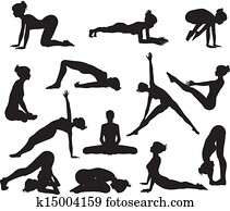 silhouette, joga, posen