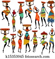 Silhouettes of beautiful African women