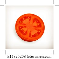 Slice of tomato vector