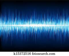 Sound Waves Oscillating On Black EPS 10