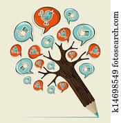 Clip Art Kunst Hand Buecher Baum K14699459 Suche Clipart