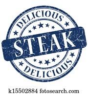 steak blue grunge stamp
