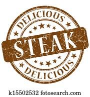 Steak brown grunge stamp