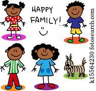 stecken figur, schwarze familie