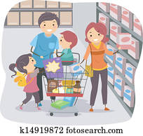 stickman, familie einkaufen, in, a, lebensmittelgesch?ft