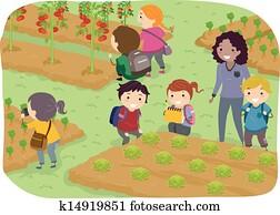 Stickman Kids School Trip to Vegetable Garden