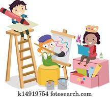 stickman, kinder, machen, künste handwerke