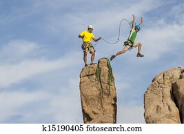 Successful climbing team.
