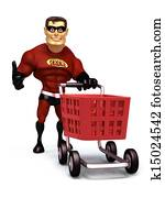 Super Hero with shopping trolley