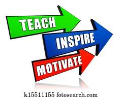teach, inspire, motivate in arrows