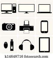TV,computer, camera, laptop, notebook & other electronic gadgets. These vector graphic illustrations are simplistic icons(symbols) of digital gadgets in black and white