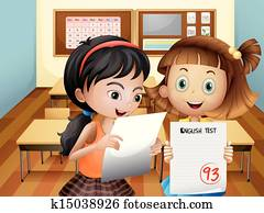 Two girls holding their exam results