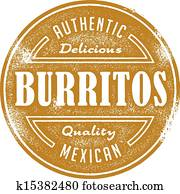 Vintage Burrito Mexican Food Stamp