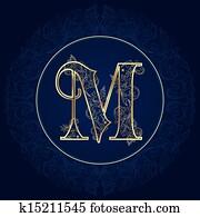Vintage floral alphabet, letter M