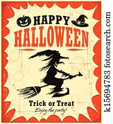 Vintage Halloween witch poster desi