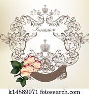 Wedding invitation card with vintage frame and roses