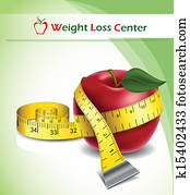 Weight loss background with apple
