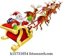 weihnachten, weihnachtsmann, fliegen, in, schlitten