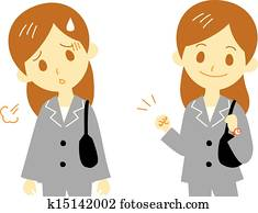 woman, working, tired, cheer up