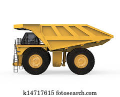 Yellow Mining Truck Isolated