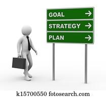 3d businessman goal strategy plan roadsign
