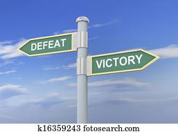 3d defeat victory road sign