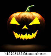 3d scary halloween pumpkin on black background
