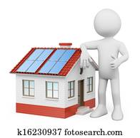 3D white people. House with solar panels