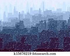 Abstract big snowy city.