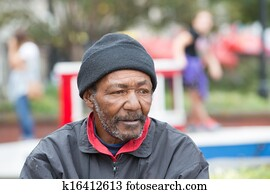 African american homeless man