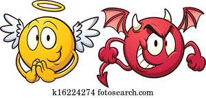 Angel and devil emoticons.