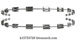 Assembled Dental Braces Extreme Close Front