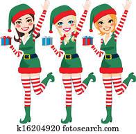 Beautiful Santa Elf Helpers