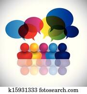 begriff, vektor, von, bilden kinder, sprechen, oder, büropersonal, versammlung