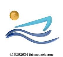Boat and sun logo image