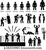 boxen, boxer, stecken figur, piktogramm
