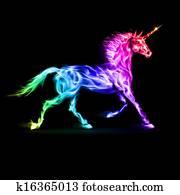 buntes, feuer, unicorn.