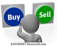 Buy Sell Buttons Show Trading Stocks Or Shares
