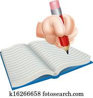 Cartoon Hand Writing in Book