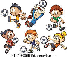 Cartoon soccer kids