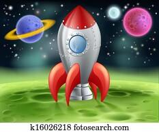 Cartoon Space Rocket on Alien Planet