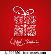 christmas card with a gift