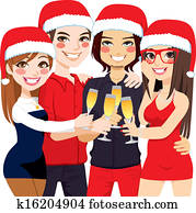 Christmas Party Friends Toast