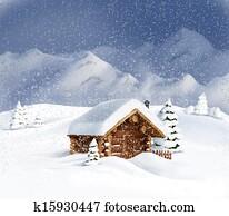 Christmas winter landscape hut snow
